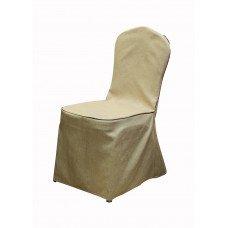 Чехол на стул ткань рогожка бежевый с кантом