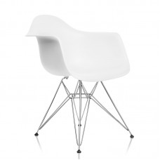 Стул с подлокотниками «Eames» с жестким сиденьем (хромированный каркас)