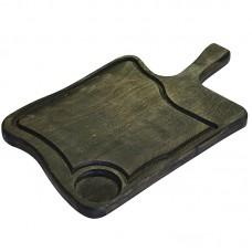 Доска для подачи 305х230х20 мм с желобком и отверстием для соусника, бук промасленный обожженный