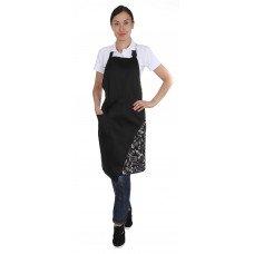 Фартук комбо с грудкой и одним карманом чёрный+поварёшки и кастрюли [00308]