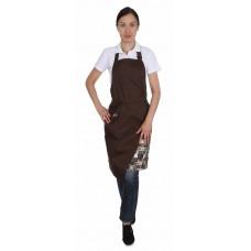 Фартук комбо с грудкой и одним карманом коричневый+кофе в квадратах [00308]
