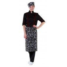Фартук шеф-повара поварёшки и кастрюли на чёрном фоне [00300]