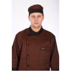 Шапочка повара «Таблетка» коричнево-черная [037]