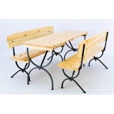 Пивной гарнитур складной (стол 1800х600 мм. и скамья 2 шт.) Бесцветный лак