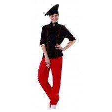 Куртка шеф-повара черная женская с манжетом (отделка красный кант) [00016]