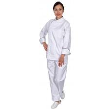 Куртка шеф-повара премиум белая рукав длинный с манжетом (отделка бордовый кант) [00012]