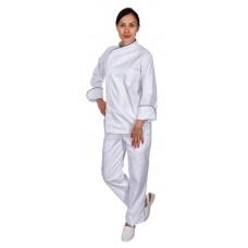 Куртка шеф-повара премиум белая рукав длинный с манжетом (отделка черный кант) [00012]
