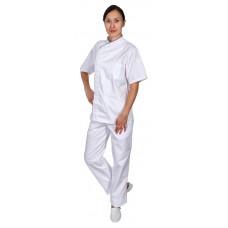 Куртка шеф-повара премиум белая рукав короткий (отделка бордовый кант) [00014]