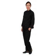 Куртка шеф-повара премиум черная рукав длинный с манжетом (отделка бордовый кант) [00012]