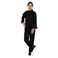 Куртка шеф-повара премиум черная рукав длинный с манжетом (отделка черный кант) [00012]
