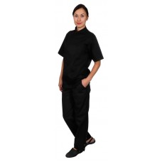 Куртка шеф-повара премиум черная рукав короткий (отделка бордовый кант) [00014]