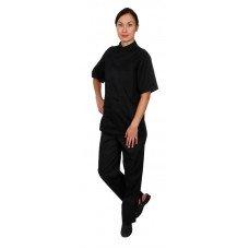 Куртка шеф-повара премиум черная рукав короткий (отделка черный кант) [00014]