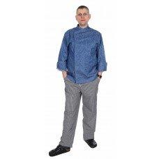 Куртка шеф-повара премиум джинсовая рукав длинный с манжетом [00012]