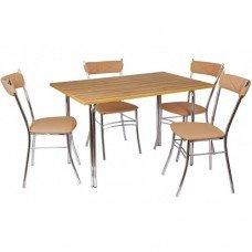 Обеденный комплект (1+4) ЛДСП стол + 4 стула Бистро Софт
