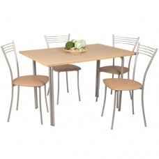 Обеденный комплект (1+4) ЛДСП стол + 4 стула Хлоя (эмаль)