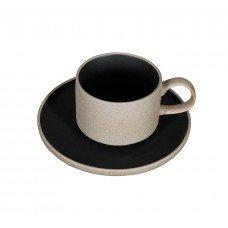 Чайная пара «Corone Rustico» 265 мл бежевый с черным