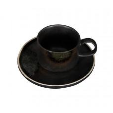 Чайная пара «Corone Rustico» 265 мл черный с зеленым