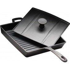 Сковорода чугунная рифленая 270х270 мм «Цыплята табака» с крышкой-прессом Luxstahl [HEGP30]