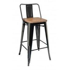 Стул полубарный «TOLIX  со спинкой» с деревянным сиденьем (стальной каркас)