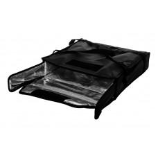 Термосумка на 2 пиццы 450х450х100 мм фольгированная черная без вентиляции