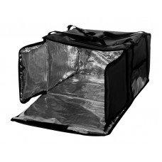 Термосумка на 5-6 пицц 450х450х300 мм фольгированная XXL черная с вентиляцией