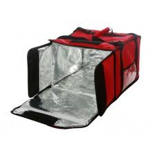 Термосумка на 9-10 пицц 420х420х500 мм фольгированная красная с вентиляцией