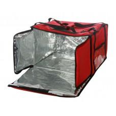 Термосумка на 9-10 пицц 450х450х500 мм фольгированная красная с вентиляцией
